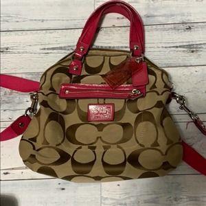 Coach daisy signature gold cross foldover purse